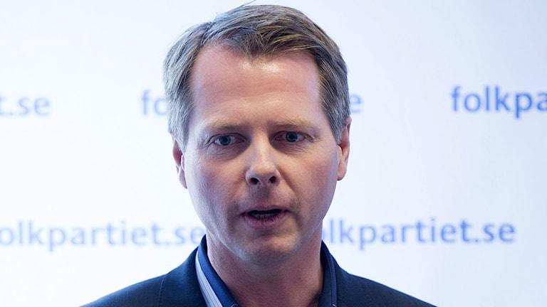 Folkpartistiske riksdagsledamoten Christer Nylander på folkpartiets riksmöte i Aros kongresscenter i Västerås på lördagen. Foto: Fredrik Sandberg/Scanpix
