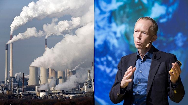 Delad bild: Tyskt kolkraftverk och man framför en stor bild av jorden