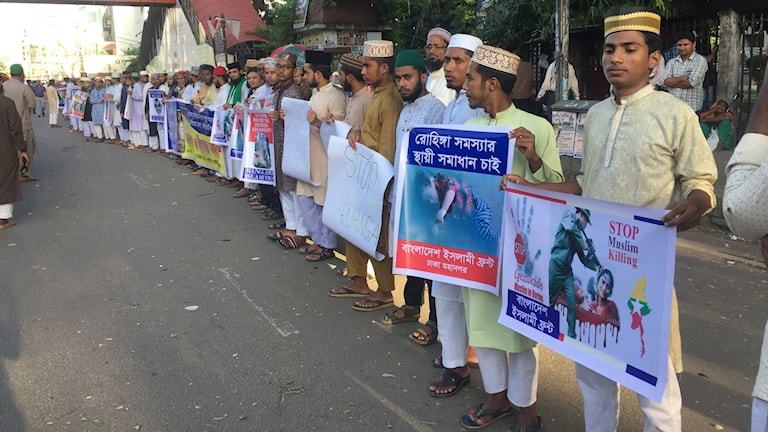 Demonstration i Bangladesh mot Myanmars utdrivning av muslimska rohingyer.