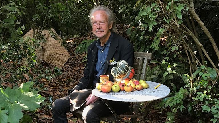 Peter Handke i sin trädgård.