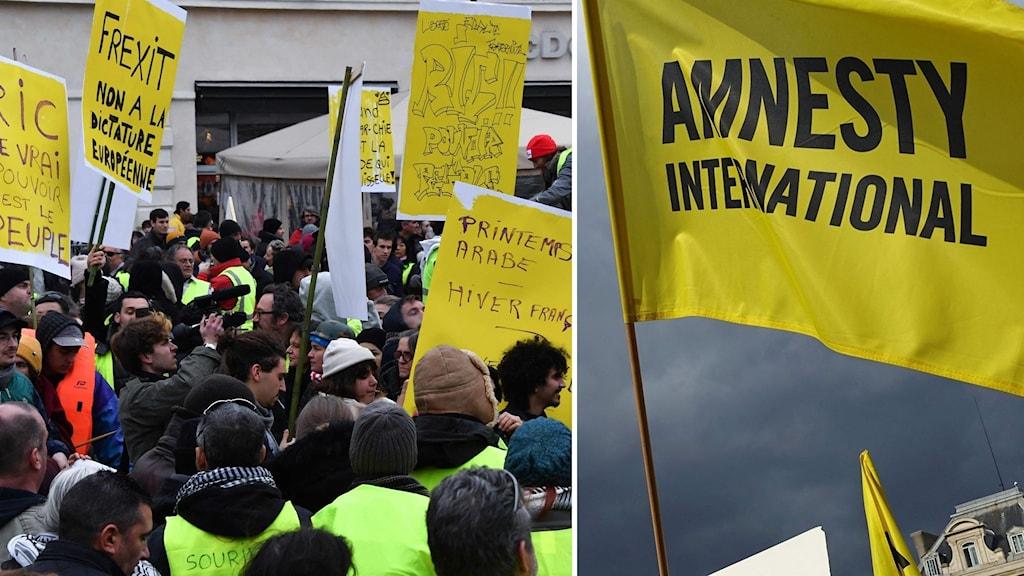 Montage från gula västarnas demonstration och Amnesty.