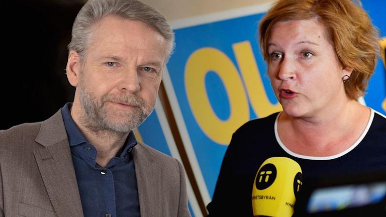 Kollage av Ekots Tomas Ramberg och Karin Karlsbro (L).