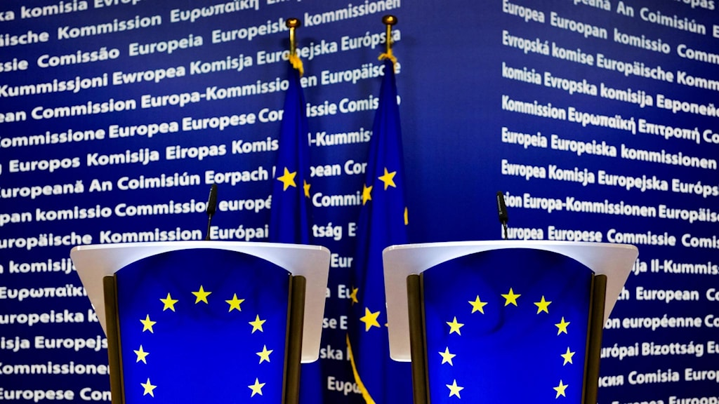 Interiör i EU-kommissionens byggnad Berlaymont i Bryssel.