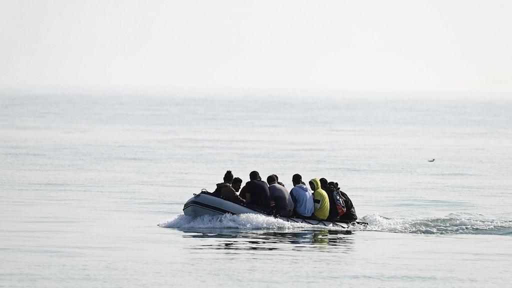 Migranter som åker över Engelska kanalen.