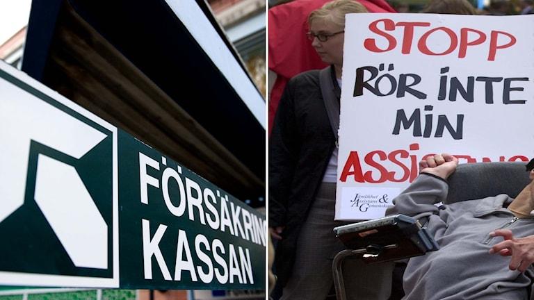 Delad bild: Demonstration mor försämringar i assistansersättning, och Försäkringskassans logotyp.