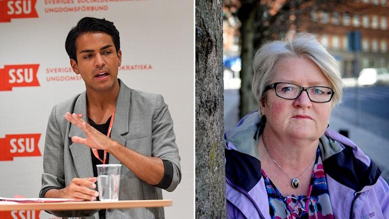 Philip Botström, ordförande i ungdomsförbundet SSU, och Carina Ohlsson, ordförande i kvinnoförbundet S-kvinnor.