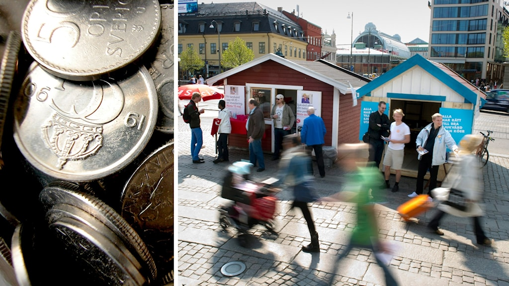 Svenska mynt till vänster. Valstugor på torg till höger.