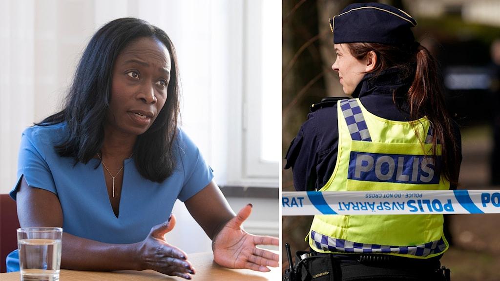 Nyamko Sabuni, Liberalernas partiledare, och en polis.
