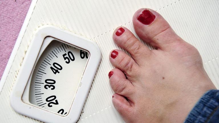 En kvinna som väger 35 kilo står på en våg. Foto: Jonas Ekströmer/Scanpix.