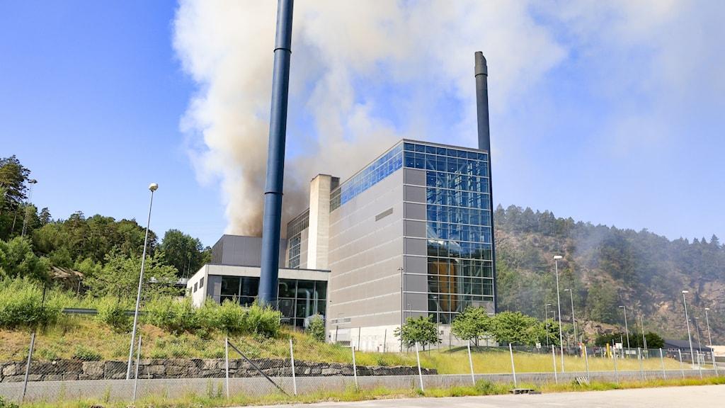 Brand i en återvinningsanläggning