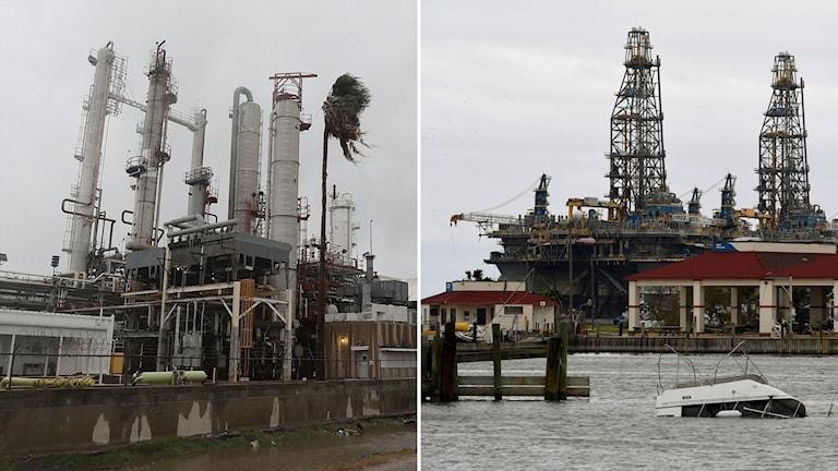 Delad bild: Raffinaderi i blåst, oljeplattform i hamn.