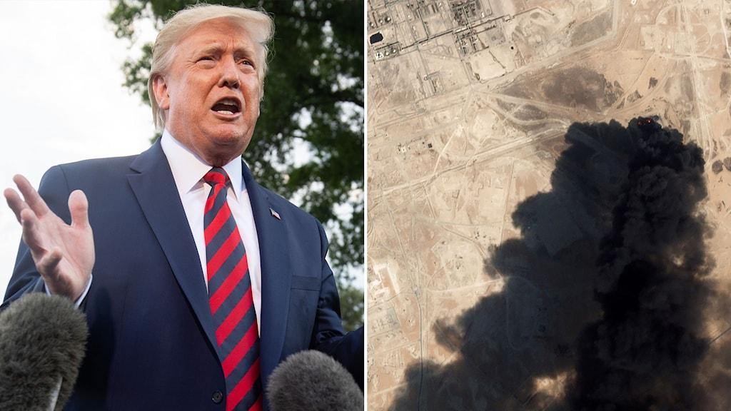 USA:s president Trump och bild ovanifrån på en av oljeanläggningarna som attackerades i Saudiarabien. Foto: SAUL LOEB/TT, Planet Labs Inc via AP/TT.