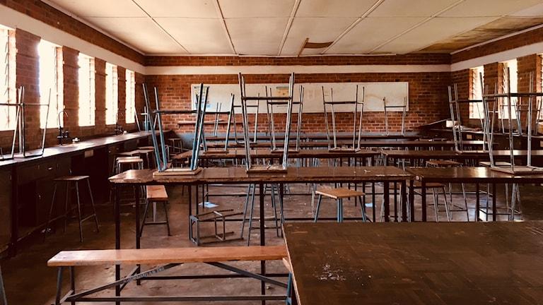 Tomt klassrum i Zimbabwe.