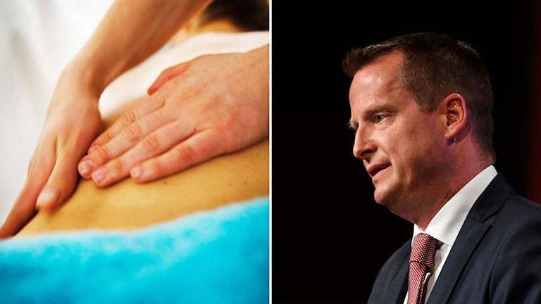 Delad bild: Händer som masserar och Ygeman mot svart bakgrund