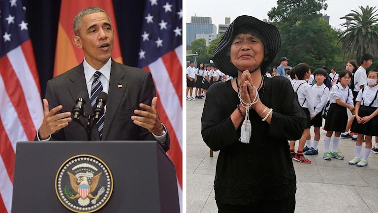 President Barack Obama. Kinuyo Ikegami erbjuder bön på Hiroshima Peace Memorial Park. Foto: TT