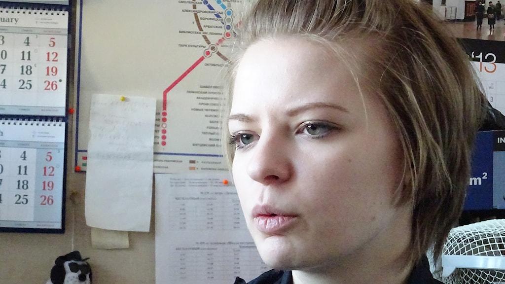 Alexandra Voskresenskaja, aktiv i kvinnorrättsgruppen Stoppa våld i familjen.