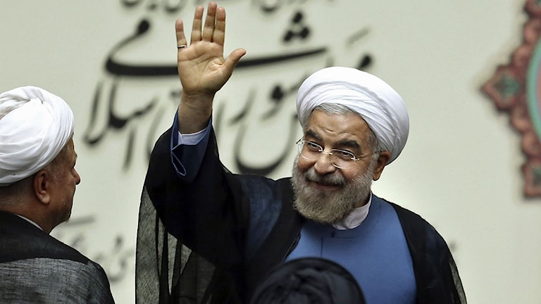 Irans nye president Hasan Rouhani svor presidenteden. Foto: Ebrahim Noroozi/Scanpix.