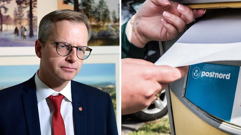 Mikael Damberg närings- och innovationsminister och Postnord