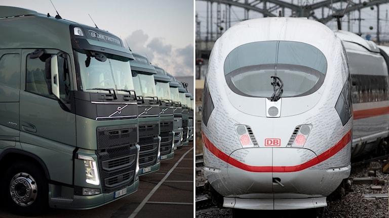 Lastbilar och ett tåg