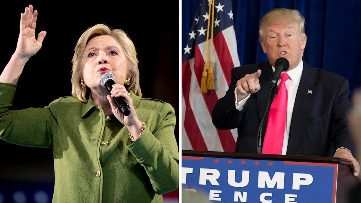 Presidentkandidaterna Hillary Clinton och Donald Trump.