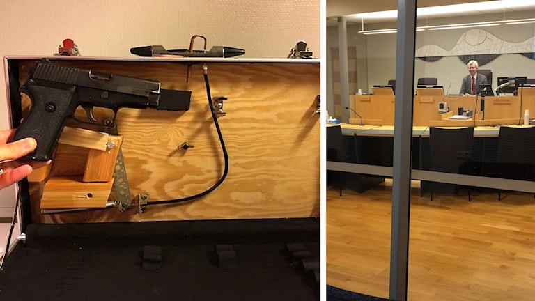 Pictures of a weaponize briefcase found in the man's home and the Sundsvall courtroom.