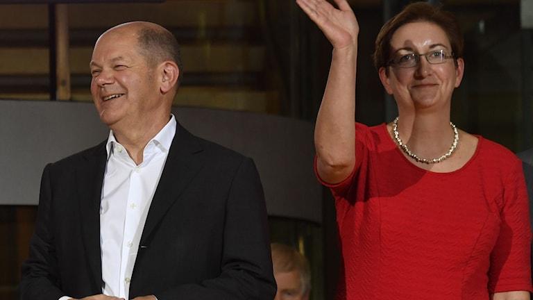 Flest röster fick Olaf Scholz och Klara Geywitz.