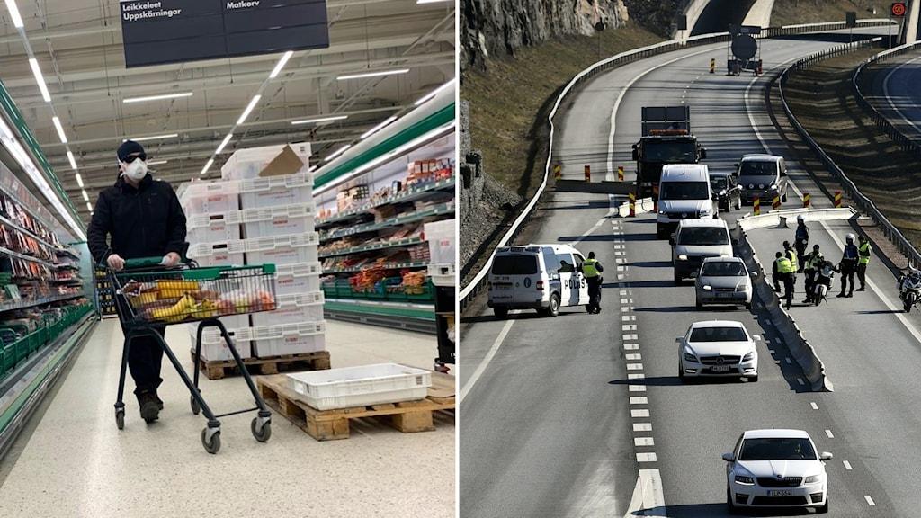 Person med munskydd och kundvagn i butik och poliskontroll på väg.