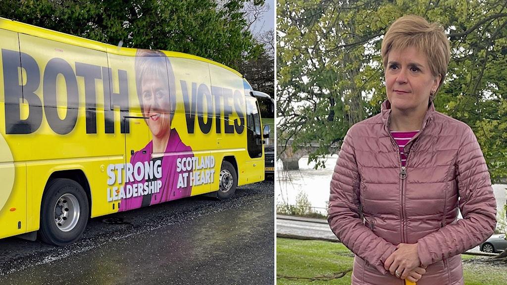 Den skotska regeringschefen Nicola Sturgeon och en av hennes valbussar.