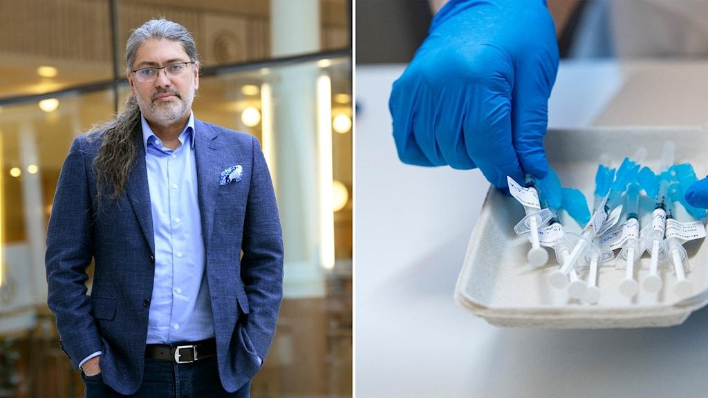 Till vänster forskaren Ali Mirazimi och till höger sprutor med coronavaccin.