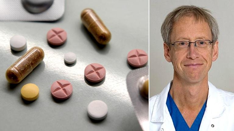 Delad bild: Medicintabletter och en man i doktorsrock.