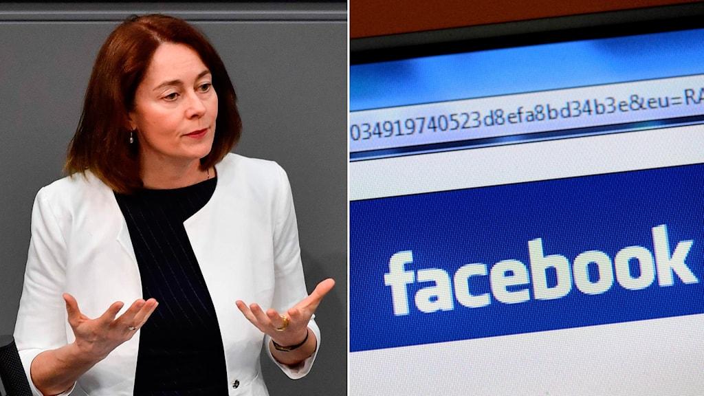 Tysklands justitieminister Katarina Barley och Facebook-loggan