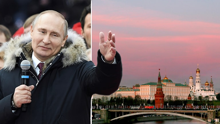 Collage: Vladimir Putin och Kreml i Moskva.