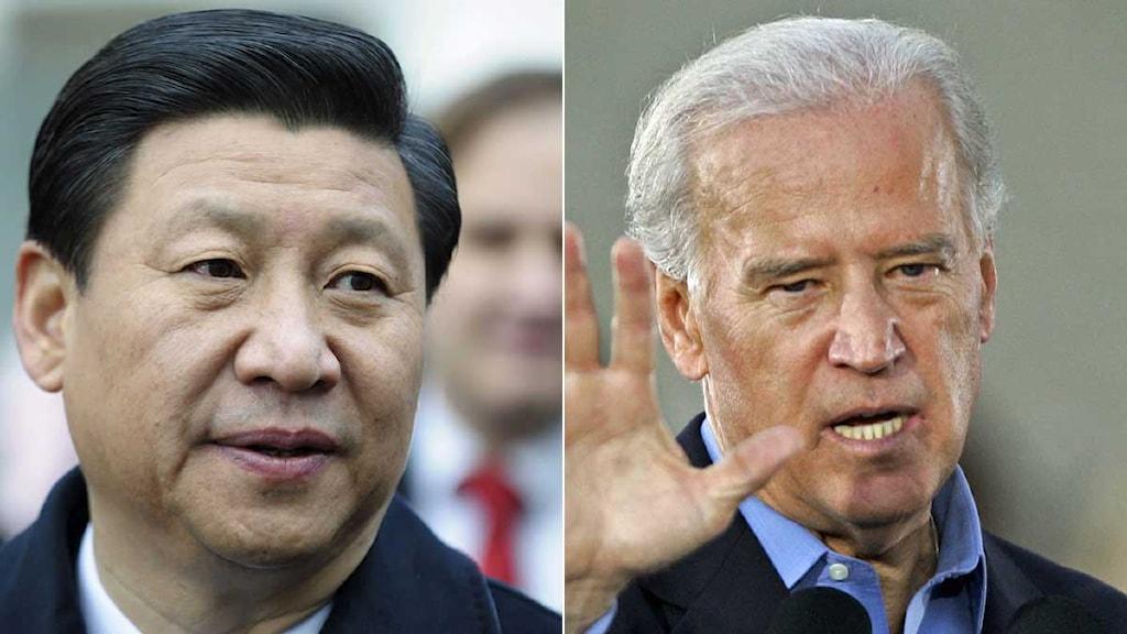 Montage av Kinas vicepresident, Xi Jinping och USA:s vicepresident, Joe Biden. Foto: Scanpix.