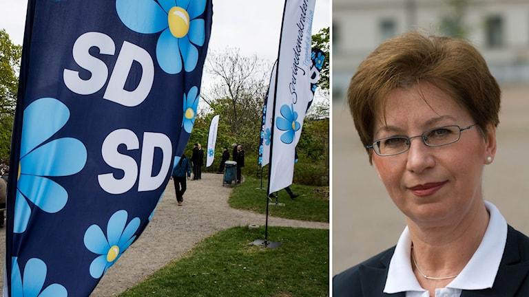Delad bild: SD-flaggor och Anna Hagwall.
