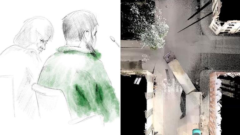 Till vänster: Skisser från rättssalen. Till höger: Bild ur polisens animering av förloppet vid lastbilsattacken på Drottninggatan den 7:e april 2017.