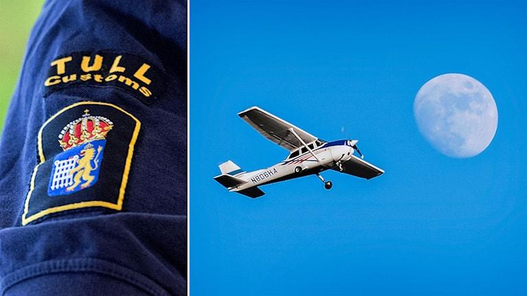 Delad bild: Tullverketmärke och ett litet sportflygplan mot blå himmel
