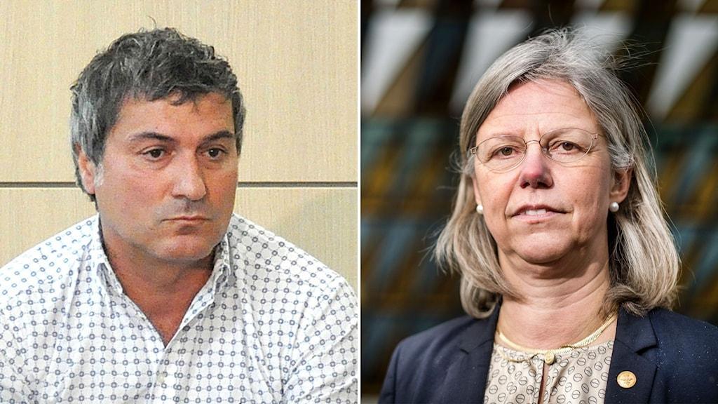 Paolo Macchiarini och Karin Dahlman-Wright, Karolinska Institutets tidigare vice rektor.