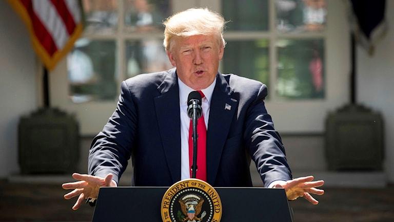Donald Trump meddelar beslut om Parisavtalet.