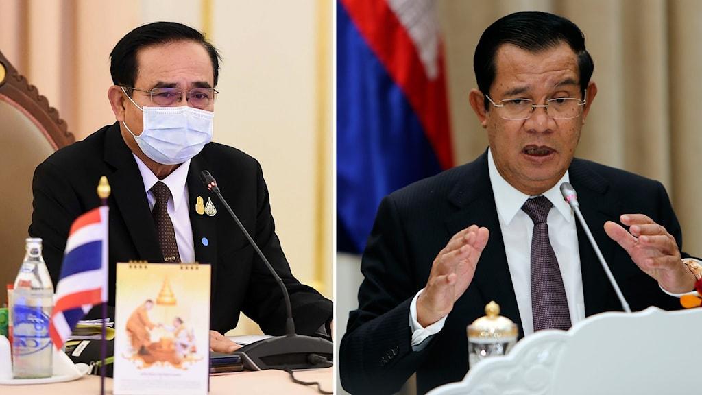 Bildsplit på Thailands premiärminister Prayut Chan-o-cha och Kambodjas premiärminister Hun Sen.