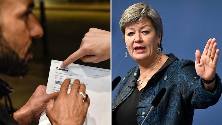 Montage: etableringsminister Ylva Johansson och genrebild på flykting.