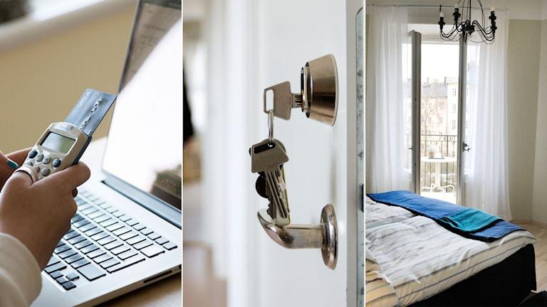Tredelad bild: Kvinna som handlar något på en dator, nyckel i en dörr och ett sovrum i en lägenhet