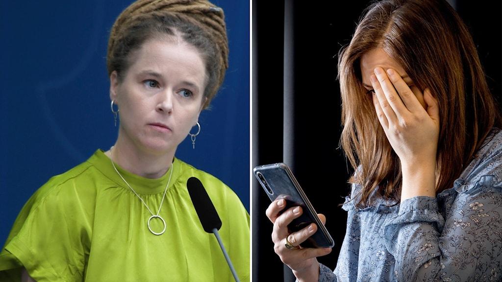 Montage med kulturminister Ammnda Lind och anonym kvinna med mobil