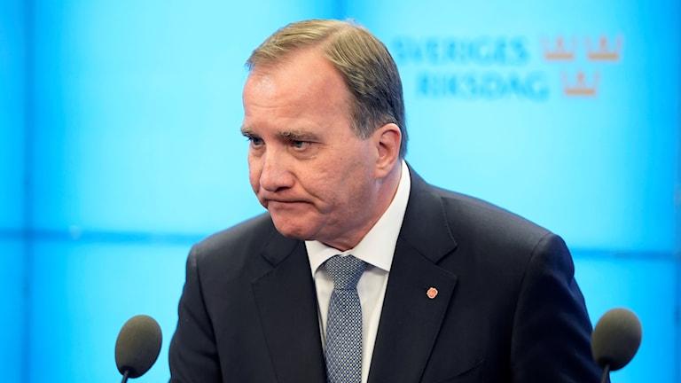 Statsminister Stefan Löfven håller pressträff i riksdagens presscenter efter statsministeromröstningen. Som väntat röstade en riksdagsmajoriteten mot Löfven som statsminister. Röstsiffrorna blev 142 för Löfven och 204 mot.