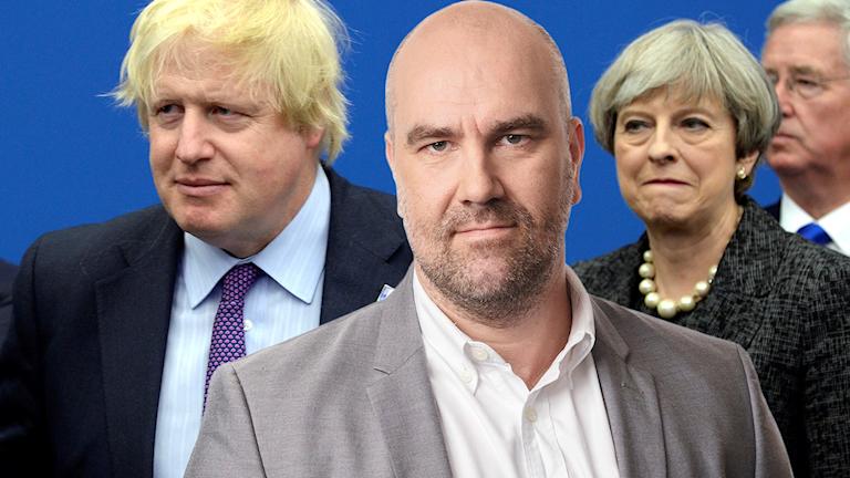 Boris Johnson, Theresa May och Claes Aronson.