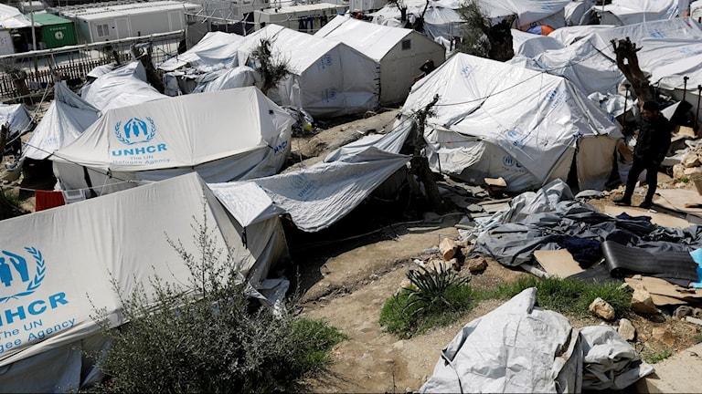 Flyktingläger på den grekiska ön Lesbos.