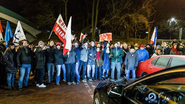Protester utanför polens parlament