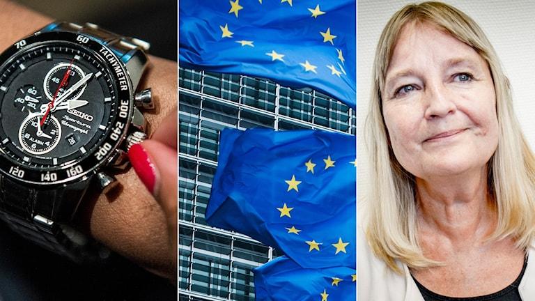 klocka, eu-flagga, Marita Ulvskog i kollage