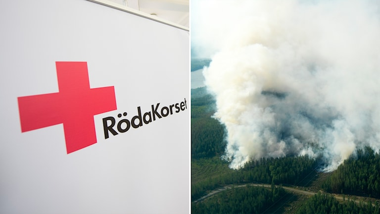 Delad bild: Röda korset-logga och rök från en skogsbrand.