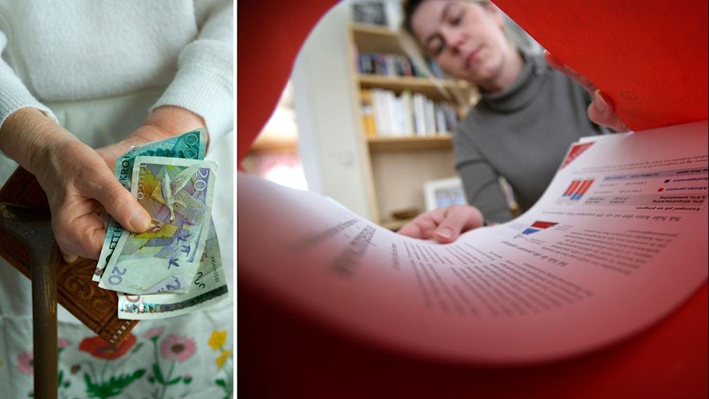 en äldre kvinna håller i sedlar och en kvinna öppnar sitt pensionsbrev