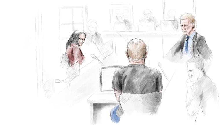 En skiss på personer i rättssal.